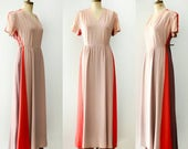 Vintage 1940's Color Block Rayon Gown