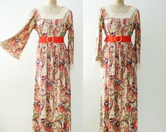 Vintage 1970's Paisley Maxi Dress with Bell Sleeves