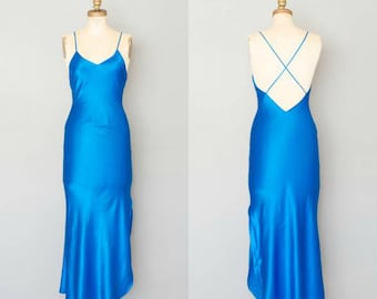 Vintage 1980's Electric Blue Silk Slip Dress