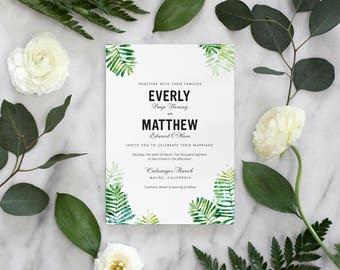 Rustic Botanical Watercolor Wedding Invitation