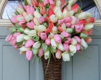 Spring Wreath - Spring Tulip Wreath - Spring Tulip Door Basket