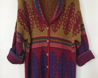Vintage 80s Jewel Tone Long Cardigan from Liz Sport / Liz Claiborne Designer / Wool & Acrylic Blend / V-neck with Shawl Collar / Med Large