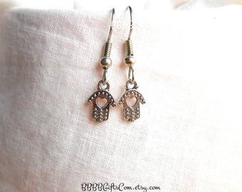 Hamsa Heart Hands Antiqued Silver Charm Earrings - Surgical Steel French Hooks