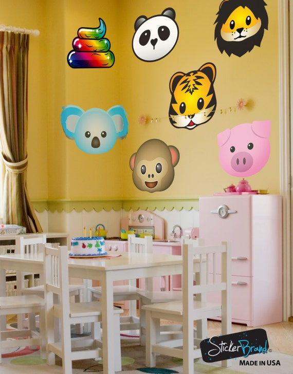 Animal Face Emoji Bedroom Wall Art Stickers