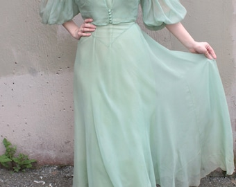 Vintage 1930's Dress // 30s Seafoam Green Bias Cut Cocktail Party Gown w/ Sheer Silk Chiffon Overlay & Matching Balloon Sleeve Jacket Blouse