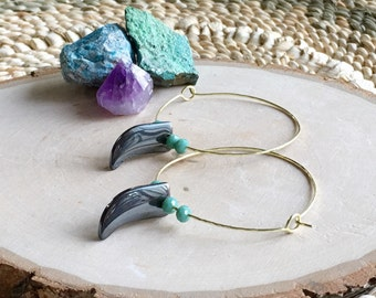 thin wire hoop earrings, bohemian stone spike hoop drop earrings