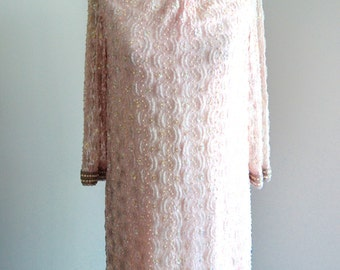 ART DECO DRESS Pearl Blush Pink White and Pearl Beaded Sequin Cocktail Dress Sequined Beaded Art Deco Couture Gown