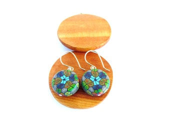 Tropical Kaleidoscope Sterling Silver Millefiori Polymer Clay Earrings by Supremily Jewellery