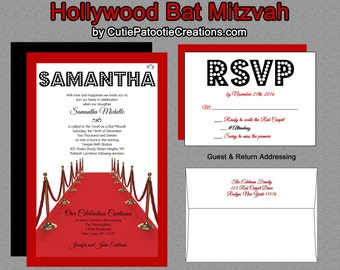 Hollywood Bat Mitzvah Invitations - Hollywood Sweet 16 Invitation - Hollywood Quinceanera Invitation - Hollywood Themed Party Invite