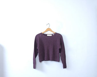 Vintage 90's purple sweater cropped top / crop top, long sleeves, size medium / small