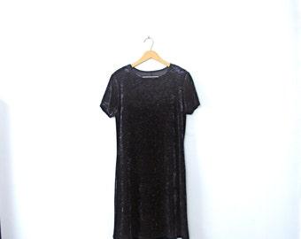 Vintage 90's dark blue velvet dress, crushed velvet dress, size 10 / medium