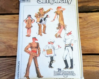 Vintage Pattern 1981 Simplicity 7642 The Lone Ranger Cowboys & Indians 80's Fashion Sewing Costume TV Show Ephemera Collectible