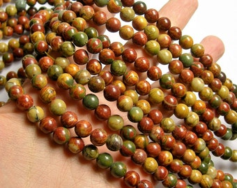 Red creek jasper - 8 mm - 49 beads - full strand - A quality - RFG552