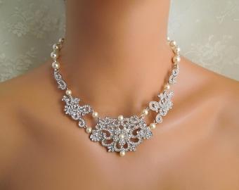 Pearl Necklace,Bridal Rhinestone Necklace,Ivory or White Pearls,Rhinestone Necklace,Pearl Bridal Necklace,Statement Bridal Necklace, RENA