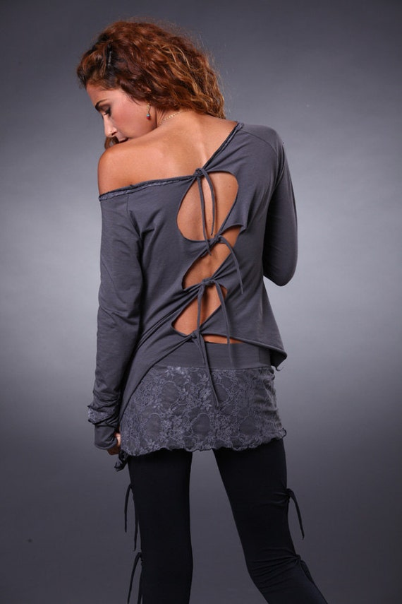 Open Back Tie Top - Bohemian Top - Pixie Top - Fairy long sleeve shirt - women's clothing