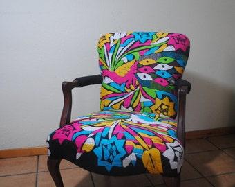 Boho hand embroided arm chair