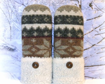 Fair Isle Gray, Ivory & Brown Women's Recycled Nordic Sweater Mittens