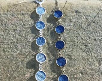 NEW- Charm Bracelet- Round pendant denim jeans silver or bronze
