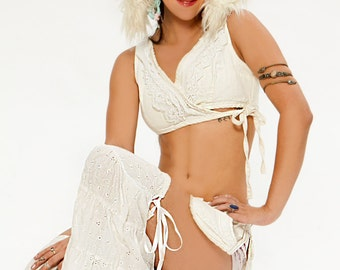 Festival Dance Angel,White Leg Flares, Tribal Dance Ruffles,Rave Leg Warmers, Boot Covers,Thigh High Leggings,Hoop Dancer,Burning Man