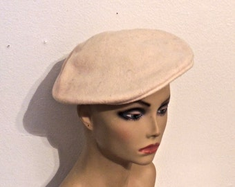 vintage wool hat - 1950s-60s Macy's California ivory wool beret hat made in France