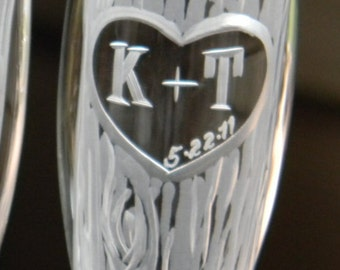 One Single Champagne Glass with Hand Carved Tree and Heart Design with Custom Initials