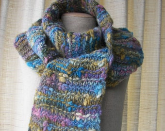 Chunky Thick & Thin HAND Knit Coloful Art Scarf in 100% Wool / Flamme Colori
