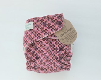 Sale, Mosaic flowers pink organic, hybrid, fitted, diaper