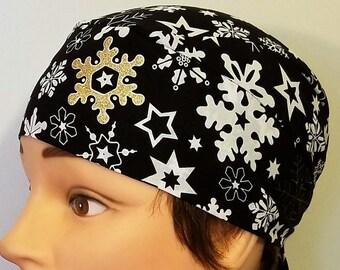 Gold & White Snow Flakes on Black Fabric, Handmade Chemo Cap, Skull Cap, Surgical Cap, Head Wrap, Motorcycle, Hat, Do Rag, Helmet Liner