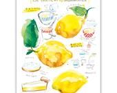 Lemon meringue pie recipe print, Kitchen art, Watercolor painting, Food art, Yellow Kitchen decor, Bakery art, 8X10 poster, Kitchen wall art