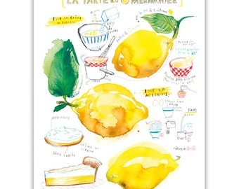 Lemon meringue pie recipe print, Kitchen art, Watercolor painting, Food poster, Yellow Kitchen decor, French Bakery print, Kitchen wall art