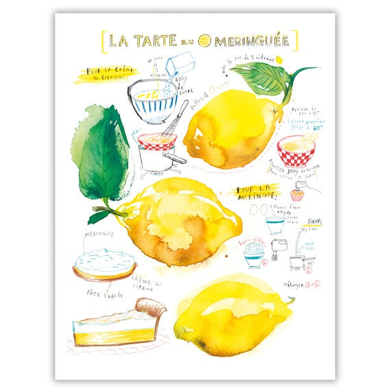 Lemon meringue pie recipe print, Kitchen art, Watercolor painting, Food art, Yellow Kitchen decor, Bakery art, 8X10 poster, Kitchen wall art