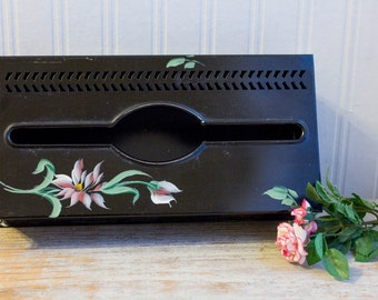 Vintage Tissue Box Holder Shabby Chic Painted Metal Kleenex Box Cover, Country Cottage Home