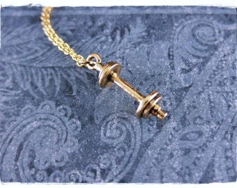 Gold Barbell Necklace - Antique Gold Pewter Barbell Charm on a Delicate Gold Plated Cable Chain or Charm Only