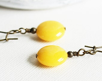 Yellow Stone Earrings, Sunflower Jade Gemstone Earrings on Antiqued Brass, Canary Yellow Earrings, Yellow Dangle Earrings, Beaded Jewelry
