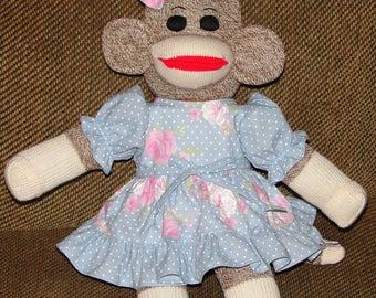 "Sock Monkey, 17"" - 18"" Sock Monkey, Baby Shower Gift, New Baby Gift, Red Heel Sock Monkey"