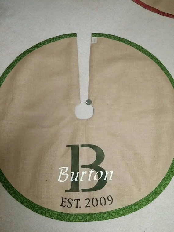 Green Personalized burlap tree skirt