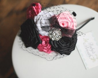 Pink Party Headband - Hot Pink, Black and White Satin Rosettes Headband with Rhinestone Embellishment -Peek-a-boo Birdcage Veiling