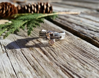 Engagement twig ring(multiple)in Sterling Silver with diamond ,14k and 18k yellow gold