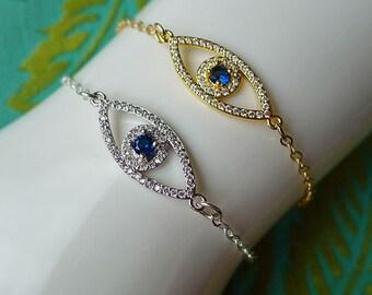 Evil Eye Bracelet // Silver or Gold Plated Eye Bracelet Diamond Sapphire Bohemian Boho All Seeing Eye Hippie Gypsy Witch Occult Bohochic