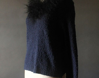 Vintage 90's Navy Blue Knit And Black Lamb Fur Collar V-Neck Pullover Sweater by Amelia Williams, size M