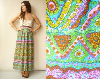 Vintage 1970's Hippie Psychedelic Floral Print Maxi Skirt Size XS