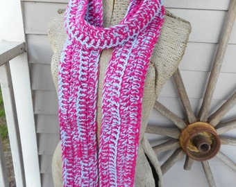 The Blue Raspberry Boho Scarf Mottle Hand Crocheted Bohochic Skinny Scarf Neck Cowl Long Wrap. Winter & Fall fashion