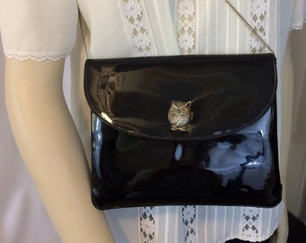 Vintage 1970's Patent Leather Purse with Owl // Black Evening Bag // Chain Handle Shoulder Bag