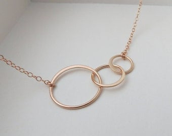 rose gold ETERNITY necklace, three circle link, gift for best friends, sisters, family
