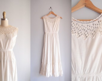 antique Edwardian Dress white lace cotton Sundress petticoat slip early 1900s  ... 24 waist