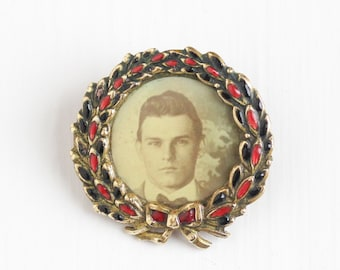 Antique Photographic Pin - Edwardian Brass Bow Wreath Red Enamel Portrait Handsome Vintage Man in Suit & Bowtie Photo Brooch Jewelry