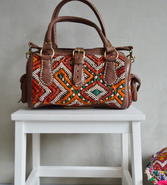 Trendy Winter Finds Moroccan Red Orange Kilim Leather Satchel Cross Shoulder Straps Berber style-bag, tote, handbag, purse, gifts