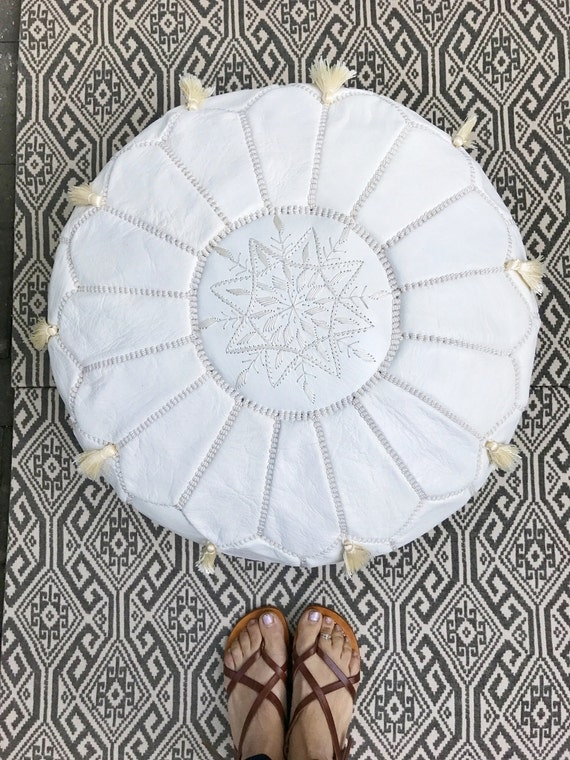 30% OFF WINTER SALE // White Moroccan Leather Pouf with Tassels & Pompoms >> for Home gifts, wedding gifts,birthday gifts, ottoman