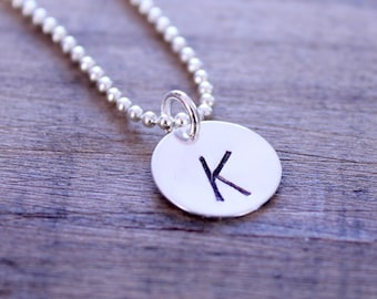 Hand Stamped Initial Necklace, Hand Stamped Jewelry, Personalized Necklace, Initial Necklace Silver: Round
