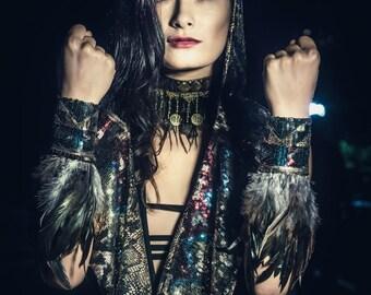 Tribal Feather Wrist Cuffs- Multiple Colors- EDC Dance Festival Costume Bracelet Accessory